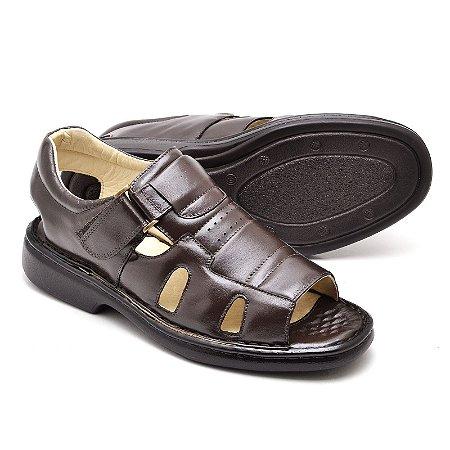 Sandália Comfort de Couro Legítimo - Ref.3600