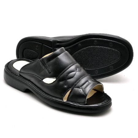 Sandália Masculina Comfort de Couro Legítimo - Ref.2600 Preta