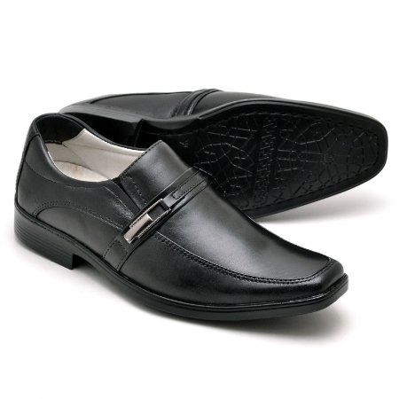 Sapato Social Masculino de Couro Legítimo Preto - Ref.011