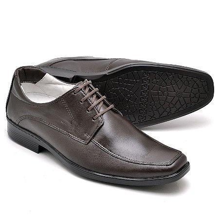 Sapato Social Comfort de Couro Legítimo Café - Ref.015