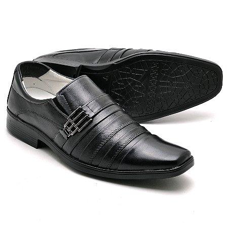 Sapato Social Comfort de Couro Legítimo Preto - Ref.010