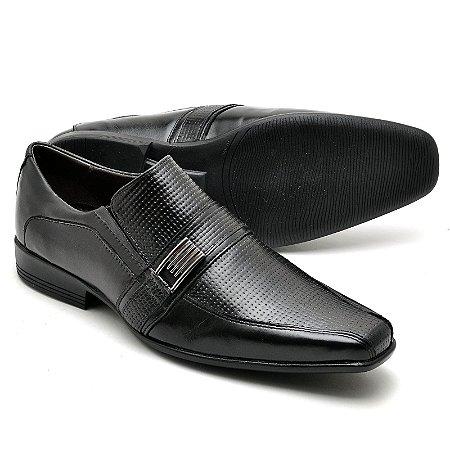 Sapato Social Comfort de Couro Legítimo Preto - Ref.013