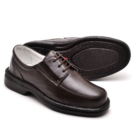 Sapato Comfort de Couro Legítimo Café - Ref.2002
