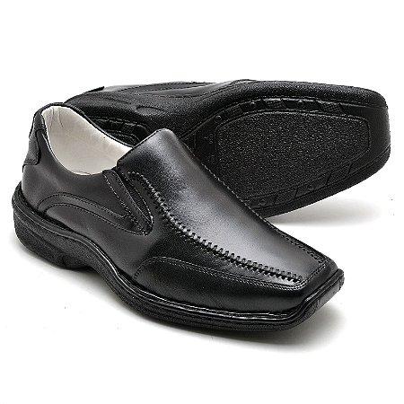 Sapato Comfort de Couro Legítimo Preto - Ref.2017