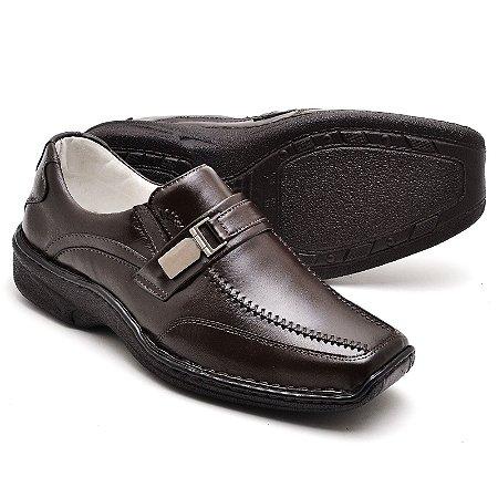 Sapato Comfort de Couro Legítimo Café - Ref.2018