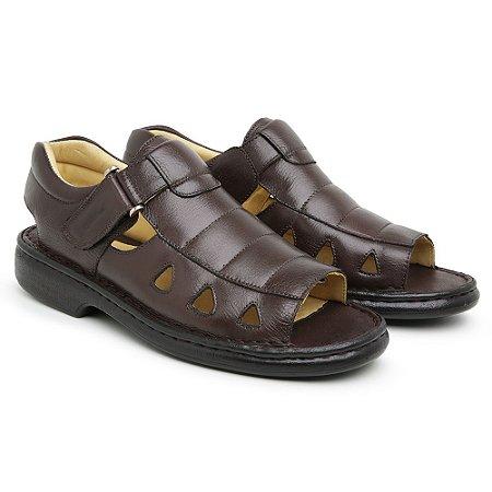 Sandália Masculina Em Couro Floater Café - Ref.301 Comfort Shoes