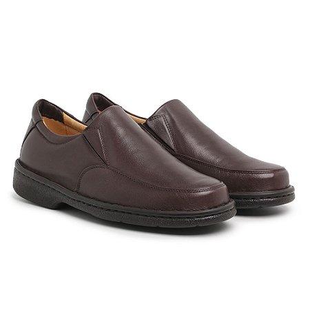 Sapato Masculino Em Couro Legítimo Café - Ref.404 Comfort Shoes