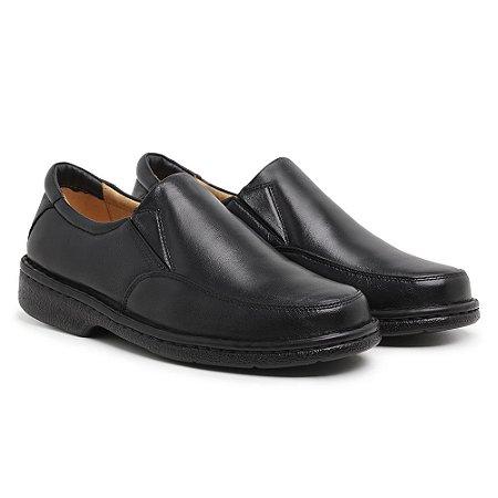 Sapato Masculino Em Couro Legítimo Preto - Ref.404 Comfort Shoes
