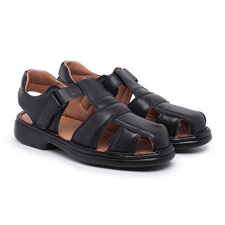 Sandália Masculina Em Couro Mestiço Preta- Ref.8014 Comfort Shoes