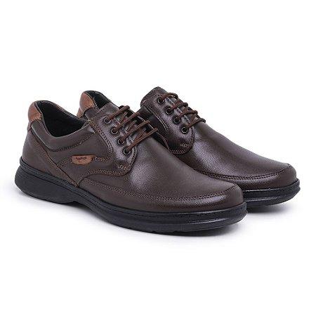 Sapato Masculino de Couro Mestiço Café Ref.6033 Comfort Shoes