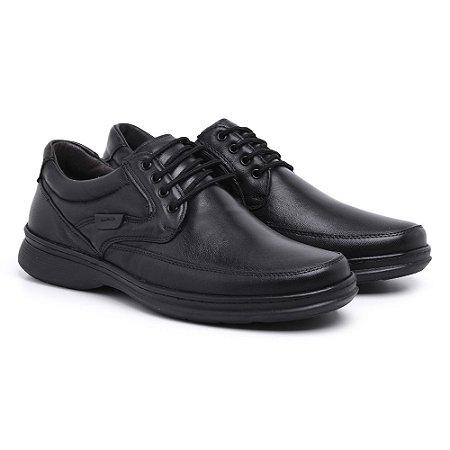Sapato Masculino Em Couro Legítimo Comfort Shoes - REF. 6033 Preto