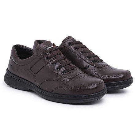 Sapato Masculino de Couro Legítimo Comfort Shoes - Ref.6020 Café