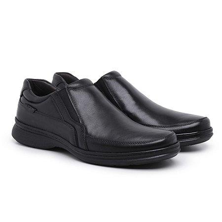Sapato Masculino de Couro Mestiço Preto Ref.6015 Comfort Shoes