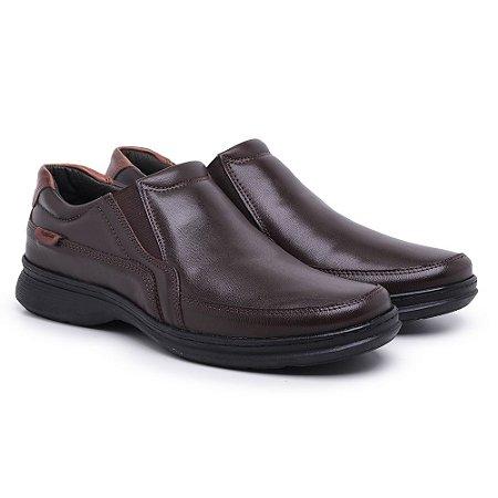 Sapato Masculino de Couro Legítimo Comfort Shoes - Ref.6015 Café