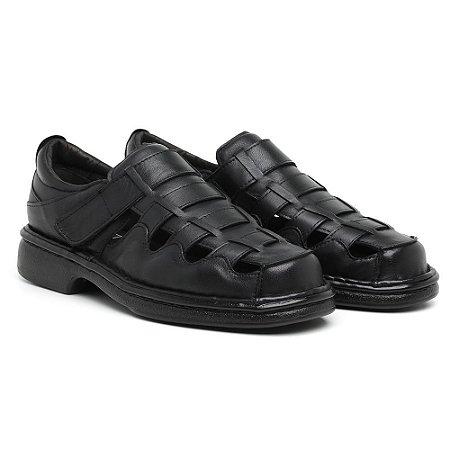 Sandália Masculina Em Couro Legítimo Preta - Ref.4002 Comfort Shoes