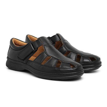 Sandália Masculina Em Couro Legítimo Preta - Ref.8009 Comfort Shoes