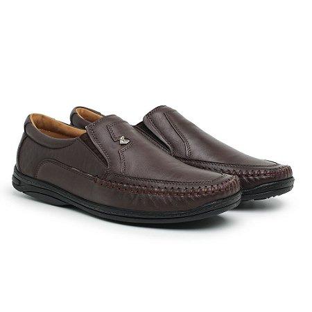 Mocassim Masculino Em Couro Mestiço Café - Ref.5002 Comfort Shoes