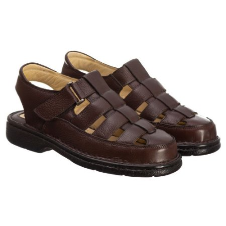 Sandália Masculina Em Couro Floater Café- Ref.3602 Comfort Shoes