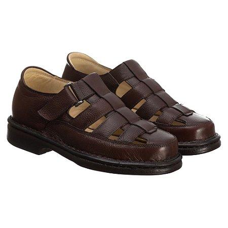 Sandália Masculina Em Couro Floater Café- Ref.3603 Comfort Shoes
