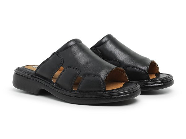Sandália Masculina Comfort de Couro Legítimo Preta - Ref.8013 Comfort Shoes