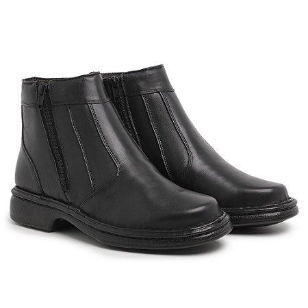 Botina Masculina Comfort de Couro Legítimo Preta - Ref.7002 Comfort Shoes
