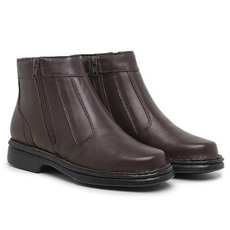 Botina Masculina Comfort de Couro Mestiço Café - Ref.7002 Comfort Shoes
