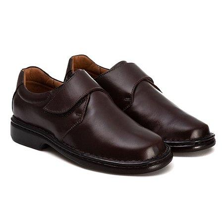 Sapato Masculino Em Couro Legítimo Com Velcro - Ref. 2003 Café