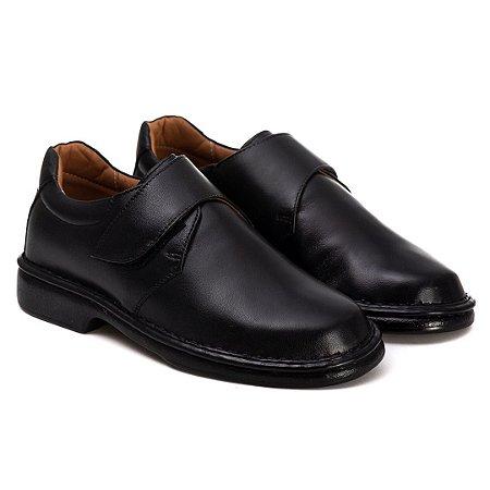 Sapato Masculino Em Couro Legítimo Com Velcro - Ref. 2003 Preto