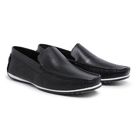 Mocassim Masculino Em Couro Preto - Ref.1220 Comfort Shoes