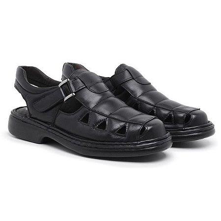 Sandália Masculina Em Couro Legítimo Preto - Ref.8010 Comfort Shoes
