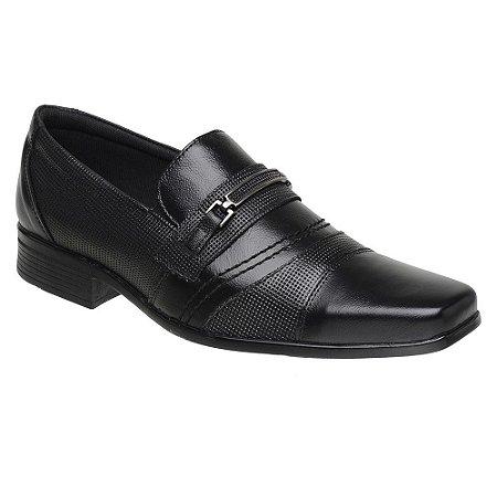 Sapato Social Masculino Em Couro Legítimo Preto - Ref. 3021