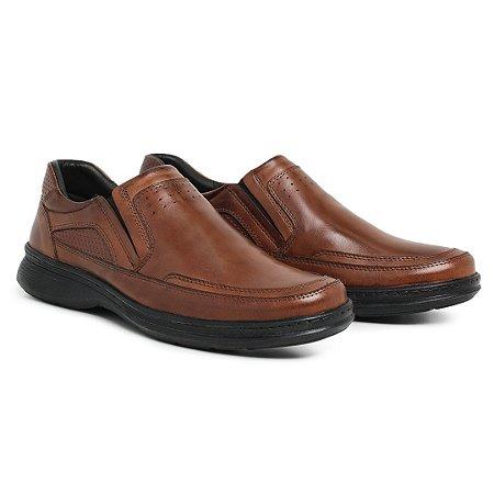 Sapato Masculino de Couro Legítimo Comfort Shoes - Ref. 6021 Havana