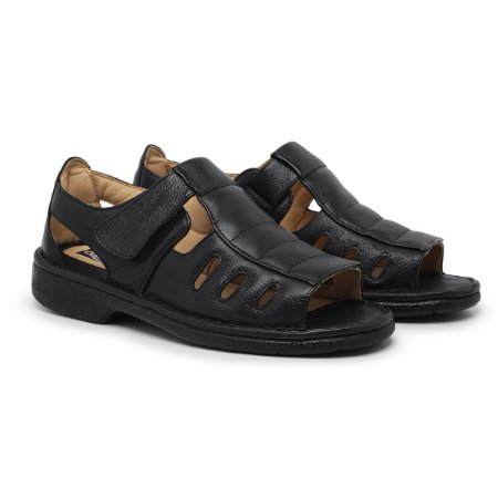 Sandália Masculina Em Couro Legítimo Preta Comfort Shoes - 309