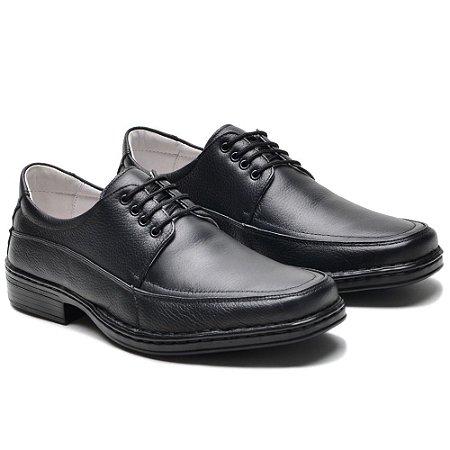 Sapato Masculino De Couro Legítimo Comfort - Ref. 001S Preto