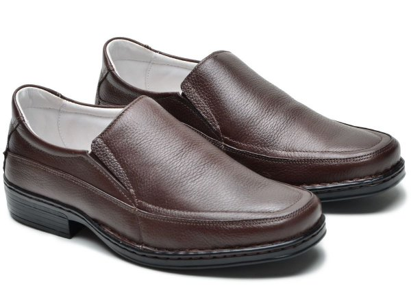 Sapato Masculino De Couro Legítimo Comfort - Ref. 008S Café