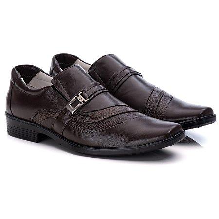Sapato Social Masculino De Couro Legitimo Comfort - Ref. 06 Café