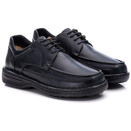 Sapato Masculino De Couro Legitimo Comfort Shoes - Ref. 8002 Preto