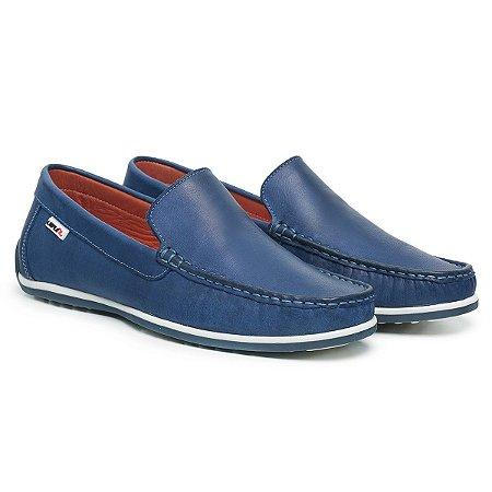 Mocassim Masculino De Couro Comfort Shoes - Ref. 5020 Azul