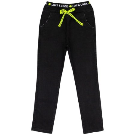 Calça Juvenil Look Jeans c/ Elástico Preto
