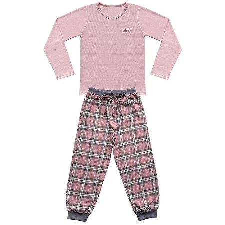 Pijama Juvenil Look Jeans Longo Rosa/Xadrez