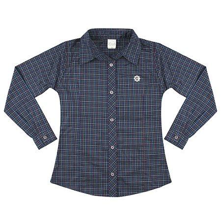 Camisa Look Jeans Xadrez Azul-Marinho