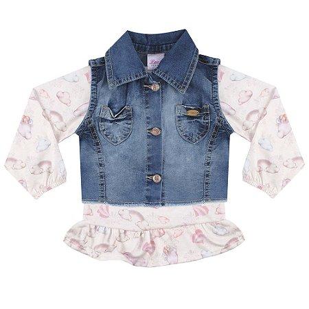 Colete Bebê Look Jeans c/ Blusinha Jeans