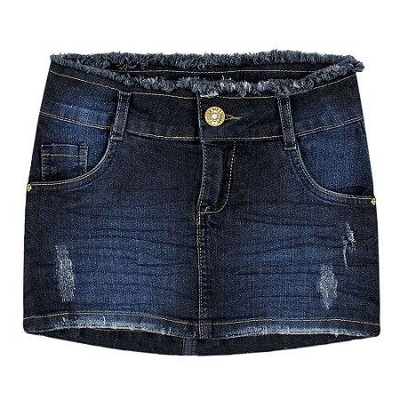 Saia Look Jeans Desfiado Jeans