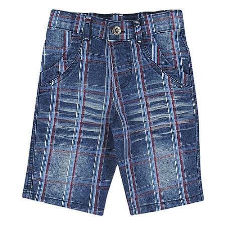 Shorts Look Jeans Xadrez Jeans