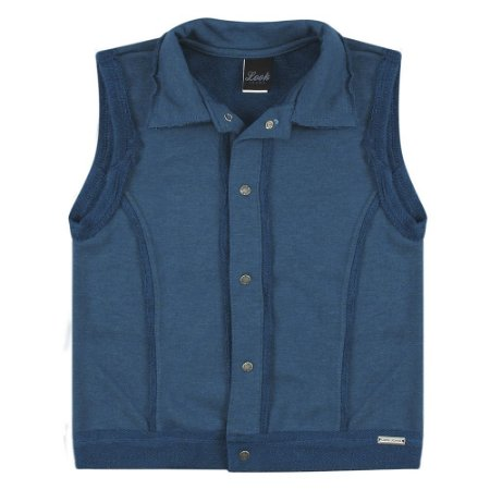 Colete Look Jeans Moletom Azul