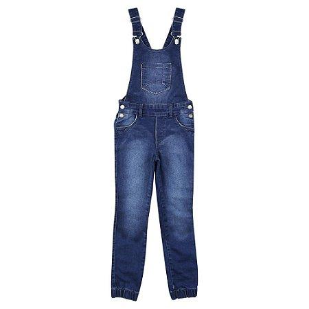 Jardineira Look Jeans Calça Jeans