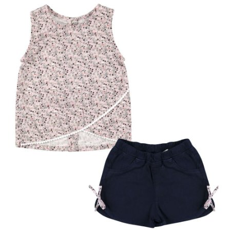 Conjunto Look Jeans Blusa + Shorts Rosa