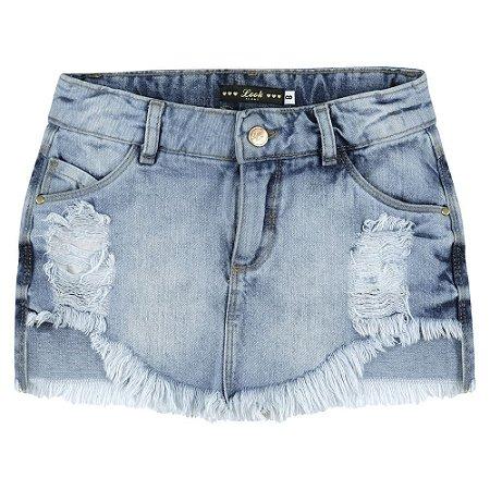 Saia Look Jeans Marmorizada Jeans