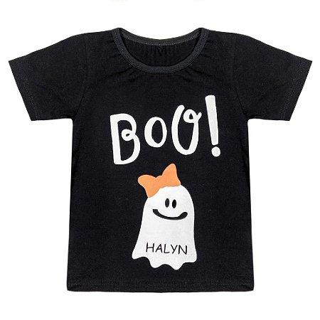 Camiseta Infantil Look Jeans Fantasma Preta