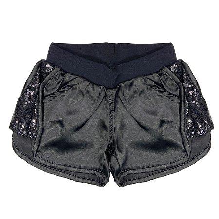 Shorts Look Jeans Cetim Preto